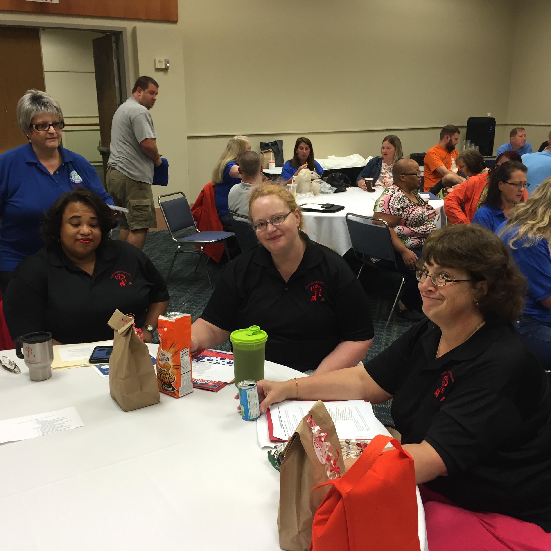 Mona Long (delegate), Christine Bennett (treasurer), Carol Howard (member-at-large) at the Southern MD Caucus Meeting